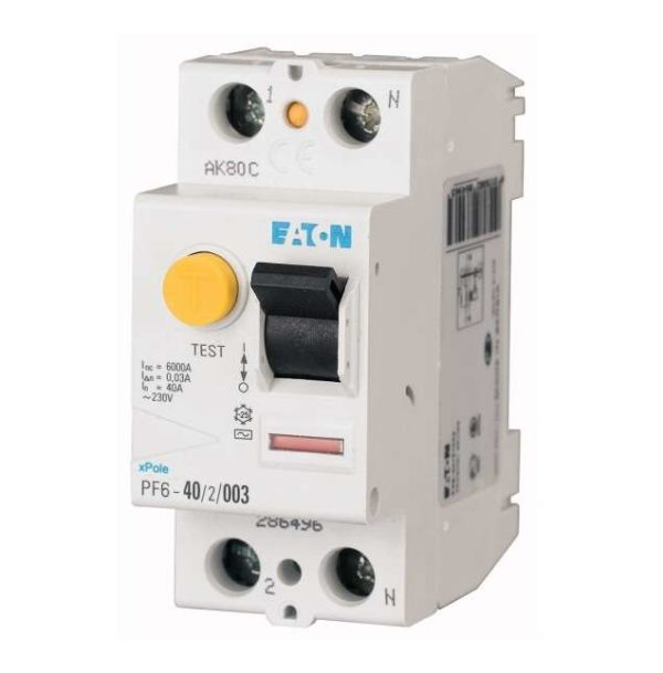 Выключатель дифференциального тока (УЗО) 2п 40А 30мА тип AC 6кА PF6 EATON 286496