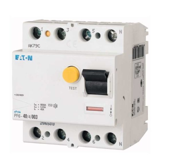 Выключатель дифференциального тока (УЗО) 4п 25А 30мА тип AC 6кА PF6 EATON 286504