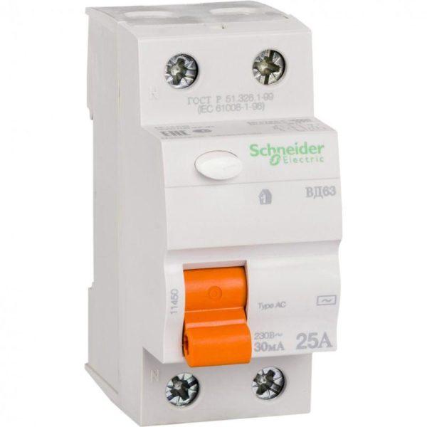 Выключатель дифференциального тока (УЗО) 2п 25А 30мА тип AC ВД63 Домовой SchE 11450