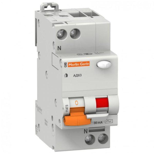 Выключатель автоматический дифференциального тока 2п (1P+N) C 16А 30мА тип AC 4.5кА К АД63 2мод. Дом