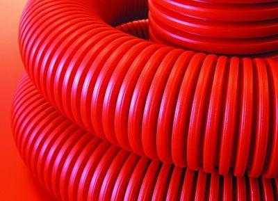 Труба гофрированная двустенная ПНД d110 с протяж. с муфтой красн. (уп.50м) DKC 121911