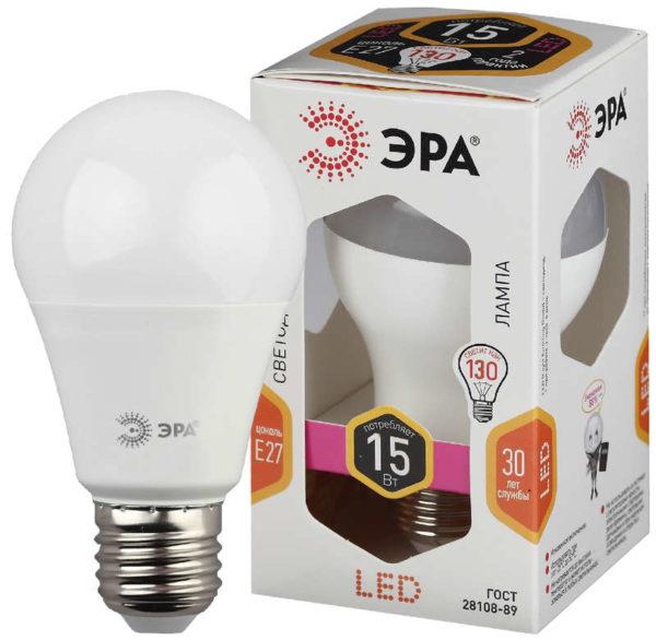 Лампа светодиодная A60-15W-827-E27 грушевидная 1200лм ЭРА Б0020592