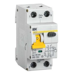 Выключатель автоматический дифференциального тока 2п (1P+N) C 10А 30мА тип A 6кА АВДТ-32 ИЭК MAD22-5