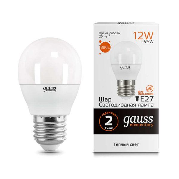 Лампа светодиодная Elementary Шар 12Вт 880лм E27 3000К Gauss 53212