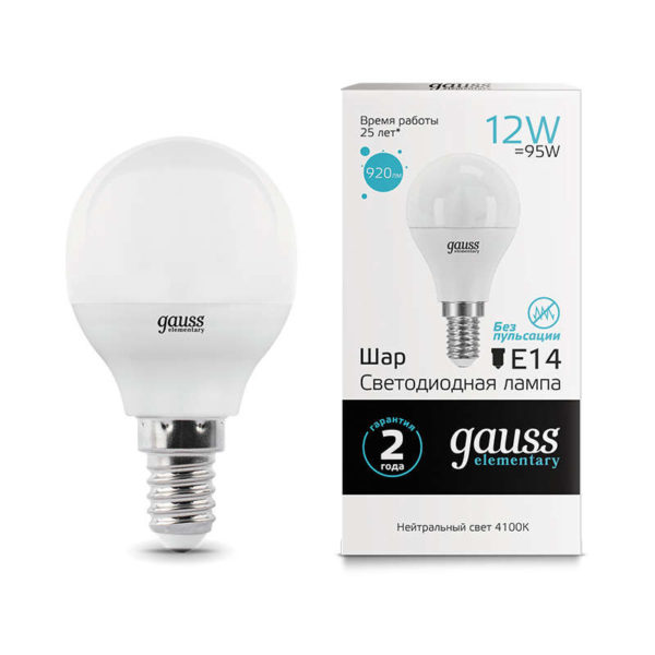 Лампа светодиодная Elementary Шар 12Вт 920лм E14 4100К Gauss 53122