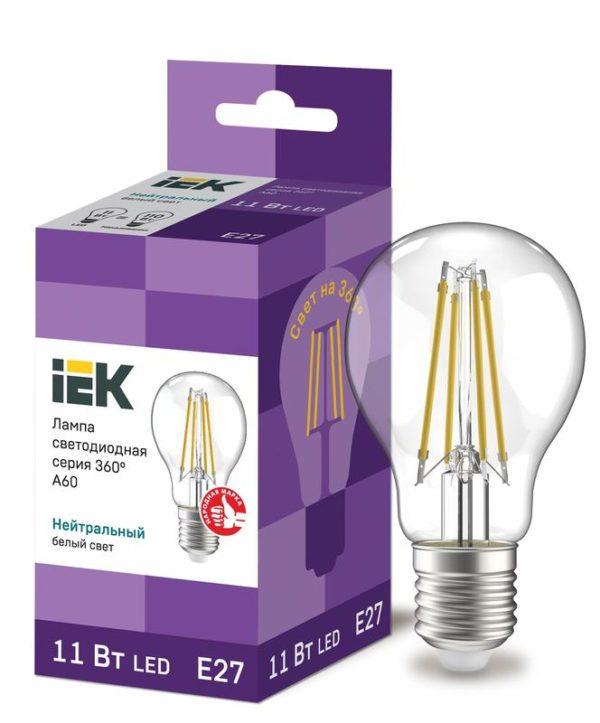Лампа светодиодная 360° A60 11Вт шар 4000К E27 230В прозр. ИЭК LLF-A60-11-230-40-E27-CL
