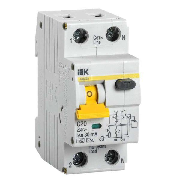 Выключатель автоматический дифференциального тока 2п (1P+N) C 20А 30мА тип A 6кА АВДТ-32 ИЭК MAD22-5