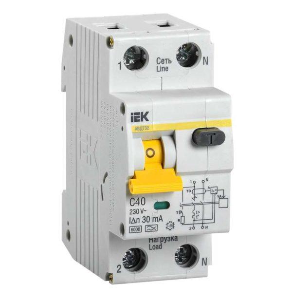 Выключатель автоматический дифференциального тока 2п (1P+N) C 40А 30мА тип A 6кА АВДТ-32 ИЭК MAD22-5