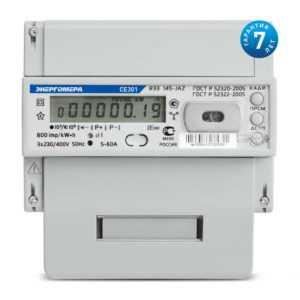 Счетчик СЕ 301 R33 043-JAZ 3ф 5-10А 0.5s/1.0 класс точн. многотариф.; универс. креп. RS48 Моск. вр.