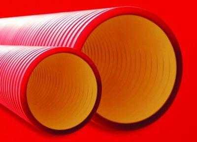 Труба гофрированная двустенная ПНД d110 жесткая 12кПа с муфтой красн. (уп.6м) DKC 160911