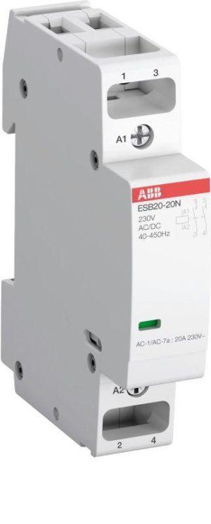 Контактор ESB20-20N-06 модульный (20А АС-1 2НО) катушка 230В AC/DC ABB 1SBE121111R0620
