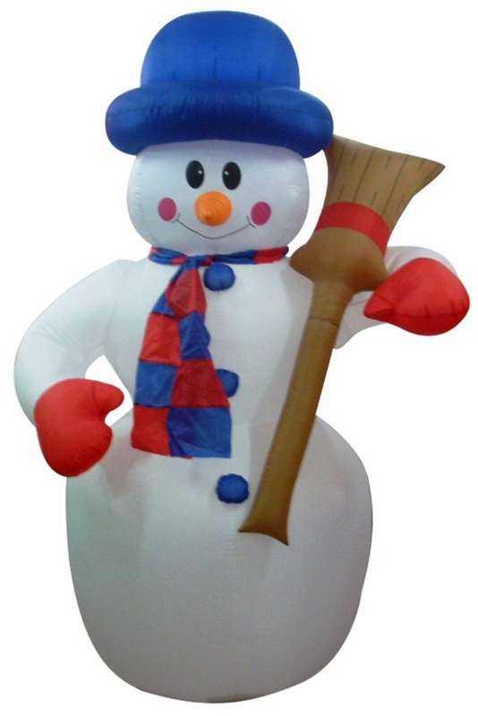 """Фигура """"Снеговик с метлой"""" 3D надувная 180см внутр. подсв. 15Вт 12В IP44 (с блоком питания и компрес"""