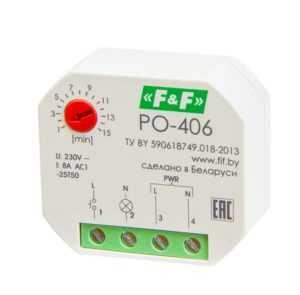 Реле времени PO-406 (задержка выкл. /управ. контактом 230В 8А 1НО IP20 монтаж в коробку d-60мм) F&F