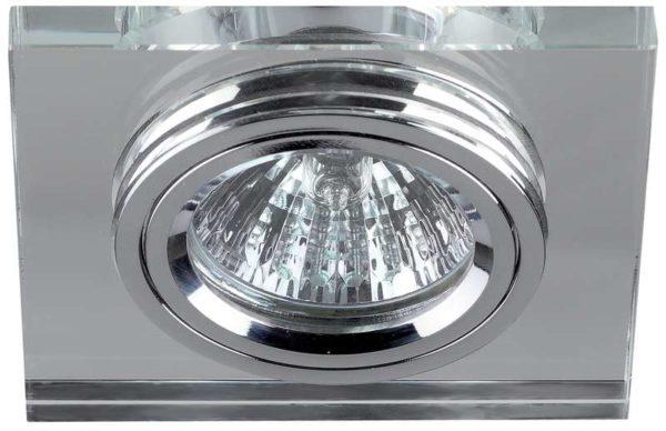 Светильник DK8 CH/WH декор стекло квадрат MR16 12В 50Вт хром/зеркальный ЭРА C0043740