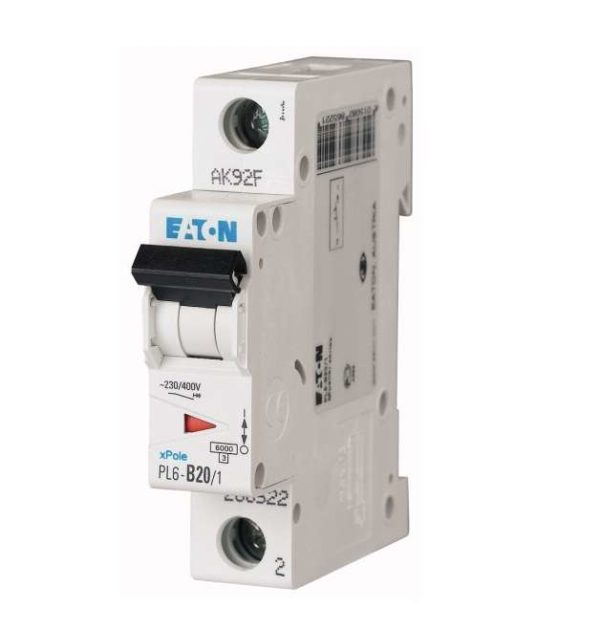 Выключатель автоматический модульный 1п C 20А 6кА PL6-C20/1 EATON 286534