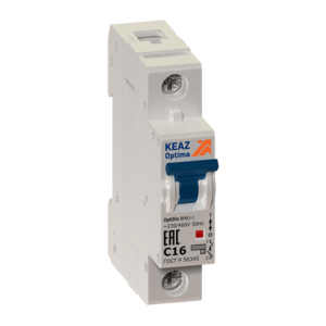 Выключатель автоматический модульный 1п C 16А 6кА OptiDin BM63-1C16-УХЛ3 КЭАЗ 260503