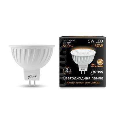 Лампа светодиодная Black MR16 5Вт 3000К тепл. бел. GU5.3 500лм 150-265В FROST Gauss 101505105