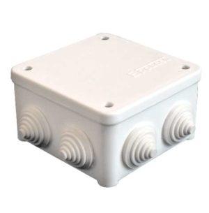 Коробка распределительная ОП 85х85х45мм IP54 7 выходов 3 гермоввода крышка на винтах бел. Epplast 13