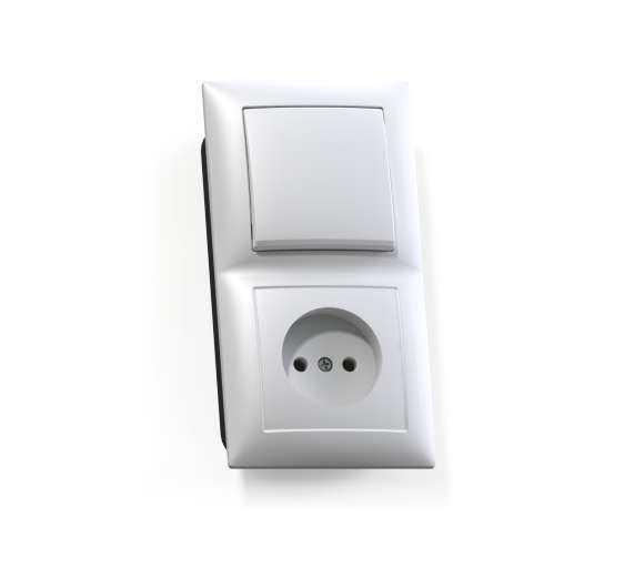 Блок СП БКВР-408 Селена (1-кл. выкл. + розетка) бел. Кунцево 8200