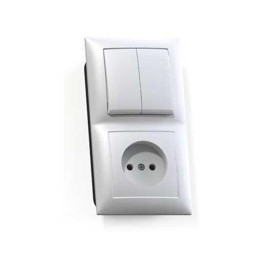 Блок СП БКВР-409 Селена (2-кл. выкл. + розетка) бел. Кунцево 8201