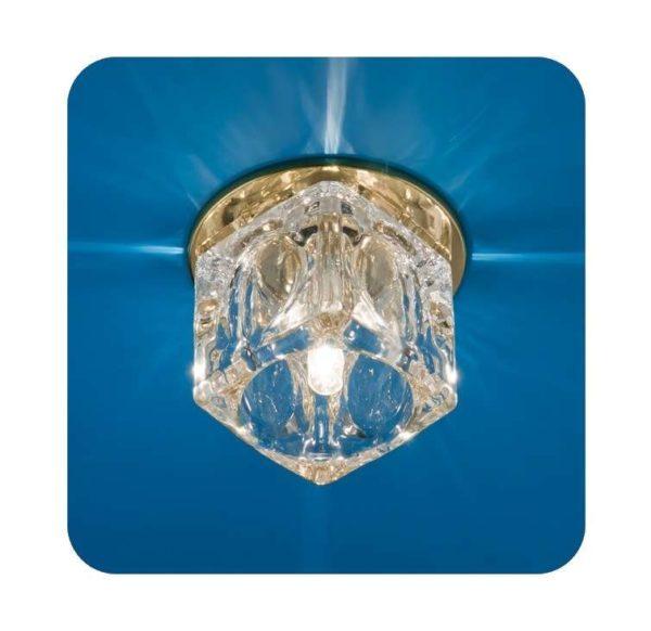 Светильник Ice 12 7 04 с огран. стеклом куб большой зол. G4 ИТАЛМАК IT8169