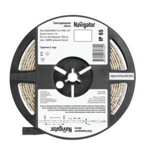 Лента светодиодная 71 769 NLS-5050CW60-14.4-IP65-12V R5 14.4Вт/м (уп.5м) Navigator 71769
