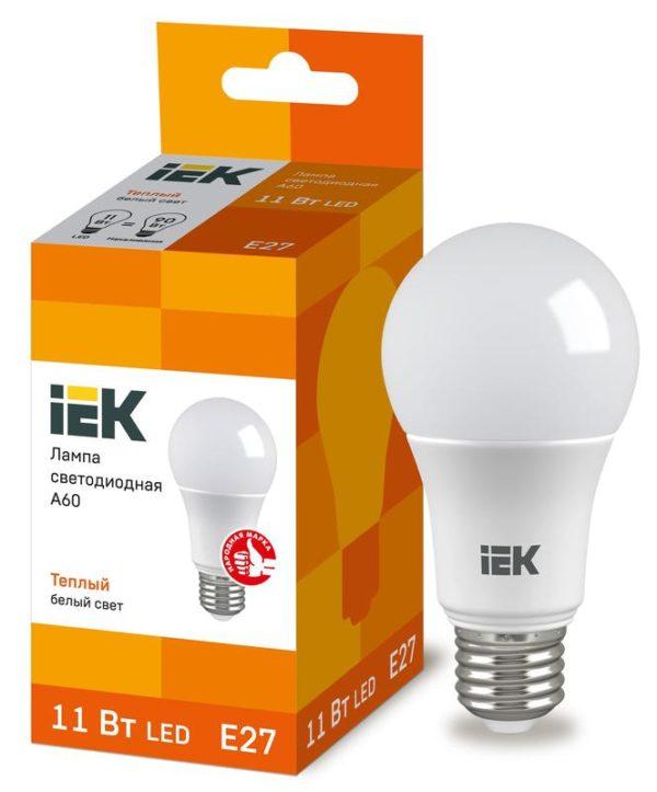 Лампа светодиодная ECO A60 11Вт грушевидная 3000К тепл. бел. E27 990лм 230-240В ИЭК LLE-A60-11-230-3