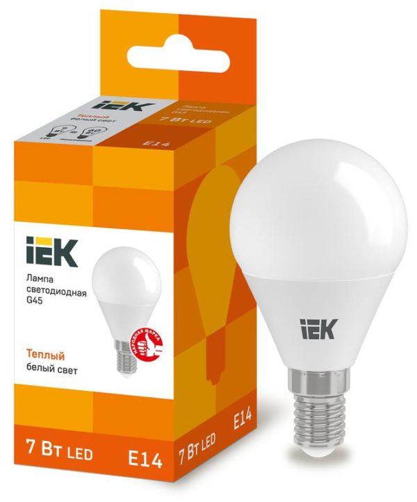 Лампа светодиодная ECO G45 7Вт шар 3000К тепл. бел. E14 630лм 230-240В ИЭК LLE-G45-7-230-30-E14