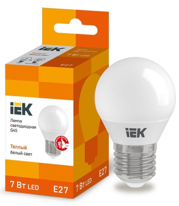 Лампа светодиодная ECO G45 7Вт шар 3000К тепл. бел. E27 630лм 230-240В ИЭК LLE-G45-7-230-30-E27
