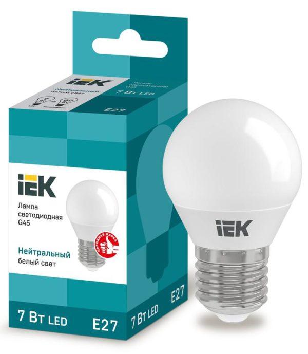 Лампа светодиодная ECO G45 7Вт шар 4000К бел. E27 630лм 230-240В ИЭК LLE-G45-7-230-40-E27