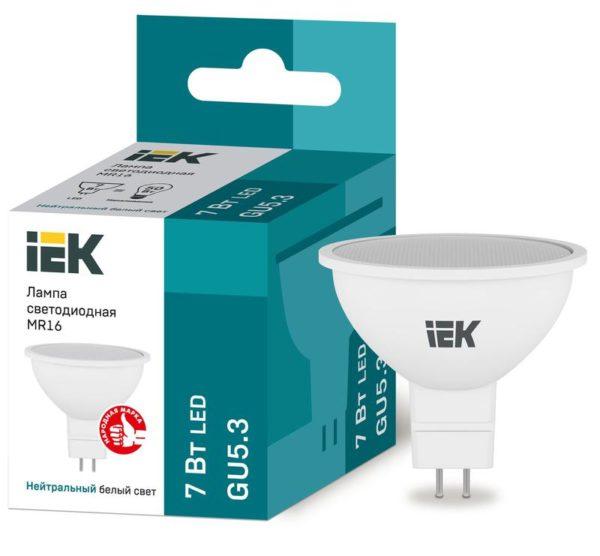 Лампа светодиодная ECO MR16 7Вт 4000К бел. GU5.3 630лм 230-240В ИЭК LLE-MR16-7-230-40-GU5