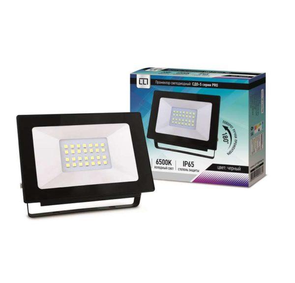 Прожектор СДО-5-20 серия PRO LED 20Вт IP65 6500К 1900лм LLT 4690612005362