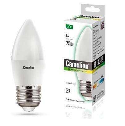 Лампа светодиодная LED8-C35/830/E27 8Вт свеча 3000К тепл. бел. E27 720лм 170-265В Camelion 12389