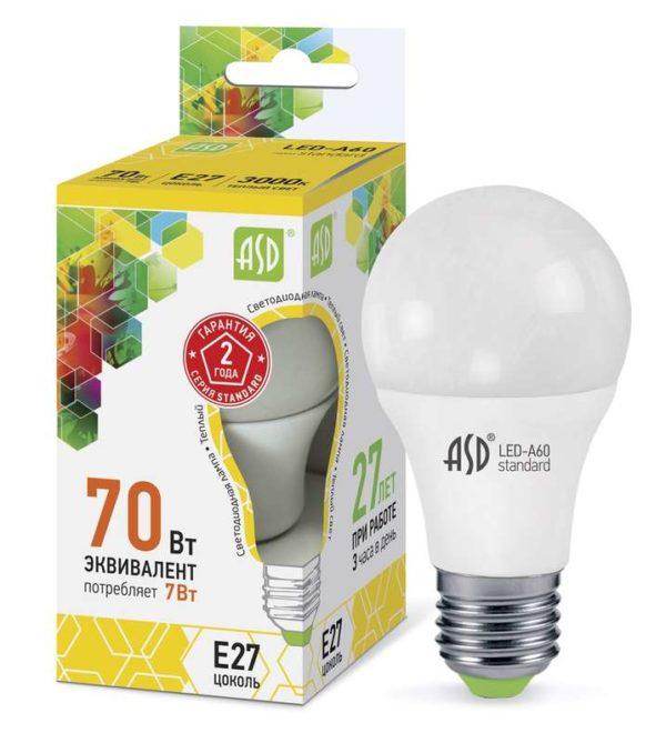 Лампа светодиодная LED-A60-standard 7Вт грушевидная 3000К тепл. бел. E27 630лм 160-260В ASD 46906120