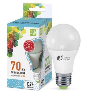 Лампа светодиодная LED-A60-standard 7Вт грушевидная 4000К бел. E27 630лм 160-260В ASD 4690612001678