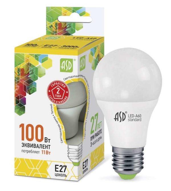 Лампа светодиодная LED-A60-standard 11Вт грушевидная 3000К тепл. бел. E27 990лм 160-260В ASD 4690612