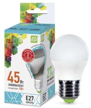 Лампа светодиодная LED-ШАР-standard 5Вт ШАР 4000К бел. E27 450лм 160-260В ASD 4690612002187