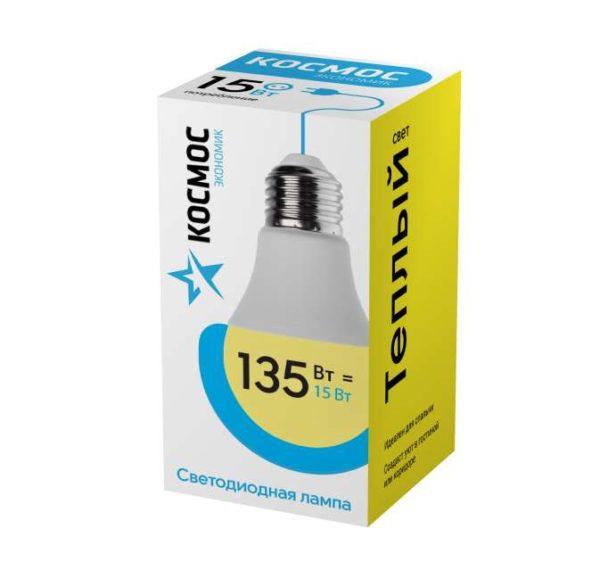 Лампа светодиодная A60 15Вт 3000К E27 220В КОСМОС LkecLED15wA60E2730