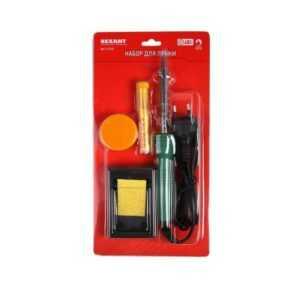 Набор для пайки №11 (паяльник 30Вт подставка губка для удаления припоя канифоль припой) Rexant 12-01