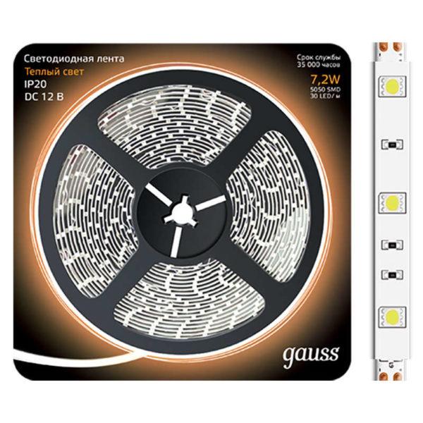 Лента светодиодная Black 5050/30-SMD 7.2Вт 12В DC теплый бел. (блистер 5м) Gauss 312000107