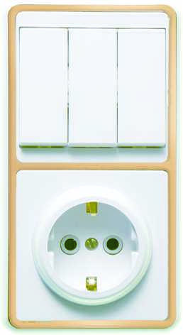 Блок БКВР-033 Бэлла (3-кл. выкл. + розетка с заземл.) зол. Кунцево 5844