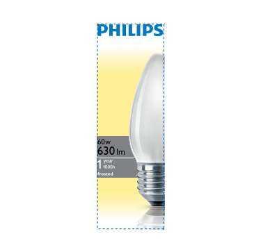 Лампа накаливания В35 60Вт E27 FR свеч. матов. Philips 921501644214 / 871150005651150