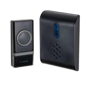 Звонок беспроводной полиф. 26 мелодий 150м 1 кноп. IP44 черн. Космос KOC_AG400