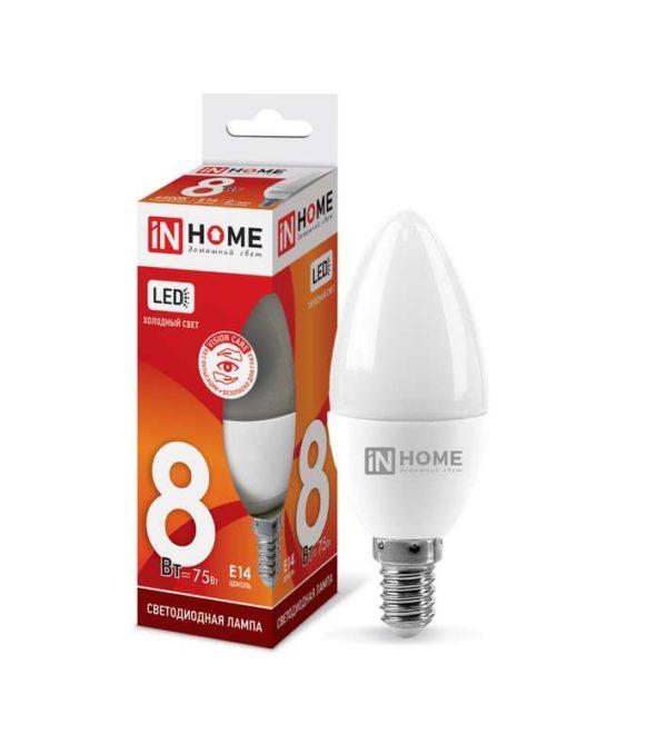 Лампа светодиодная LED-СВЕЧА-VC 8Вт 230В E14 6500К 600лм IN HOME 4690612024806