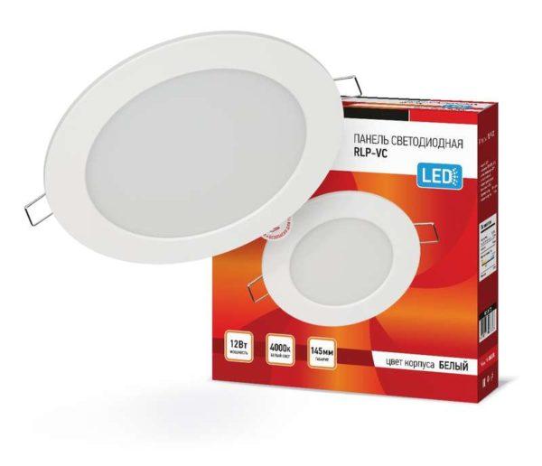 Светильник светодиодный RLP-VC 12Вт 230В 4000К 960лм 145мм IP40 панель круглая бел. IN HOME 46906120