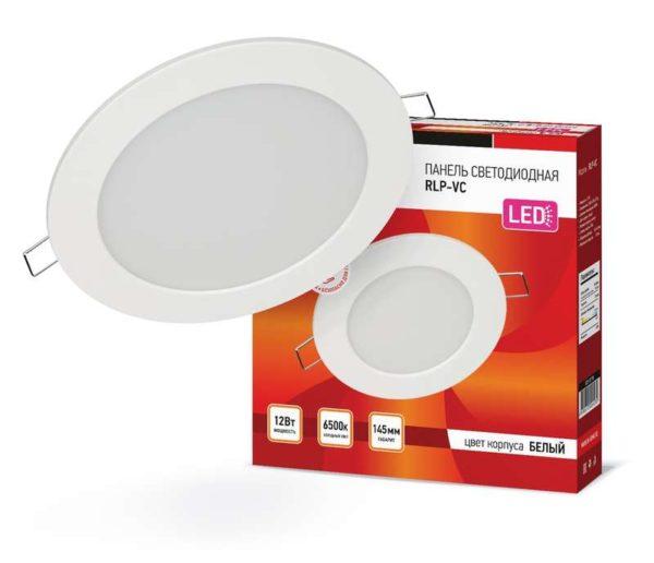 Светильник светодиодный RLP-VC 12Вт 230В 6500К 960лм 145мм IP40 панель круглая бел. IN HOME 46906120