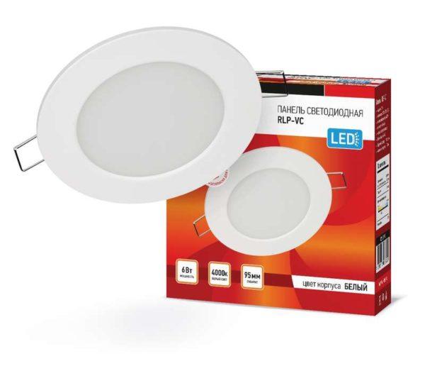 Светильник светодиодный RLP-VC 6Вт 230В 4000К 420лм 95мм IP40 панель круглая бел. IN HOME 4690612023