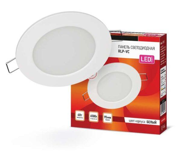 Светильник светодиодный RLP-VC 6Вт 230В 6500К 420лм 95мм IP40 панель круглая бел. IN HOME 4690612024