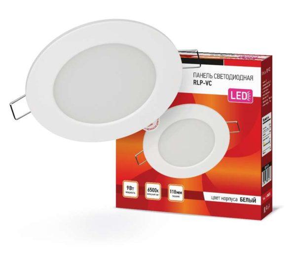 Светильник светодиодный RLP-VC 9Вт 230В 6500К 630лм 118мм IP40 панель круглая бел. IN HOME 469061202