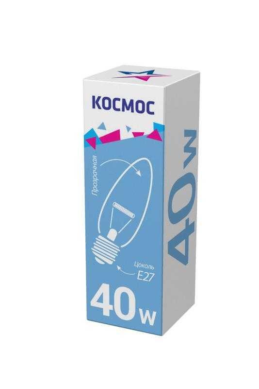 Лампа накаливания Свеча 40Вт E27 прозр. Космос LKsmSCnCL40E27v2